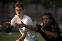 FRISCO, TX: Terrence Mitchell (Ring of Fire #8) and Doublewide vie for the disc - Pool Play - USA Ultimate Club National Championships. October 1, 2015. © Jolie J Lang for UltiPhotos