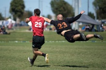 FRISCO, TX: Ring of Fire vs Machine - Men's Quarters - USA Ultimate Club National Championships. October 2, 2015. © Jolie J Lang for UltiPhotos